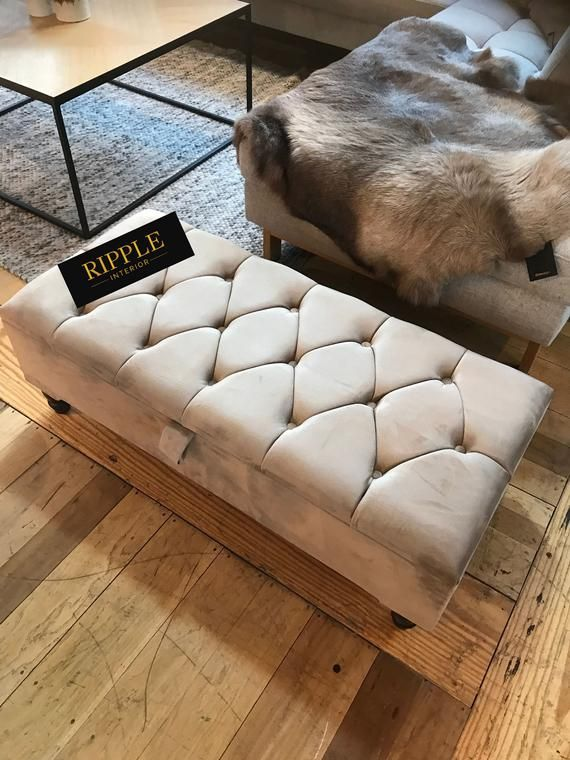 Footstool Storage Upholstered In Natural Beige Velvet Fabric Etsy In 2021 Upholstered Ottoman Storage Ottoman Storage Ottoman Bench Living room ottoman with storage