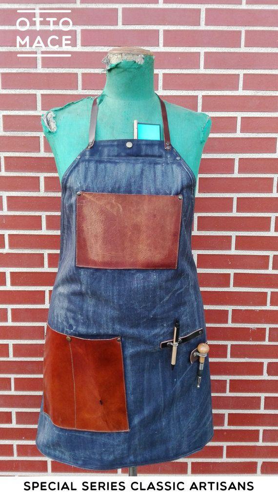 Delantal encerado de loneta + cuero/ Waxed apron waxed canvas + leather