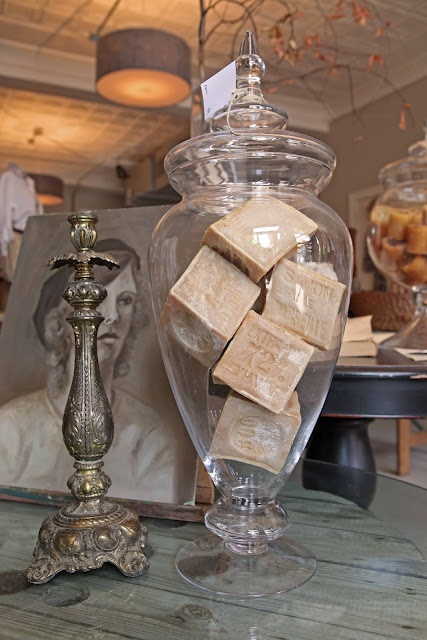 Savon de Marseilles soap in apothecary jar ... Love! French Larkspur: The Frenchman's Wife ~ New Shop