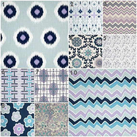 Modern Lilac Baby Blue Navy Crib Bedding, Baby Bedding, Crib Set, Lavender Powder Blue Navy Nursery on Etsy, $30.00