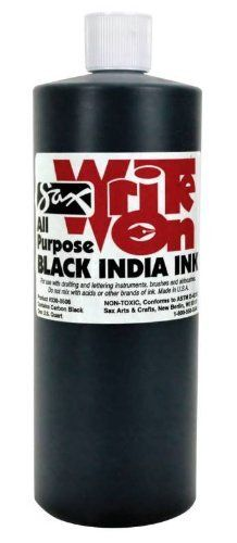 Sax Write-On All-Purpose India Ink - 1 Quart - Black by Sax. $14.79. Perfect for class or home use. Sold as a Single Unit. Created as artist, but designed for the rigors of the classroom. Brought to you by School Specialty. Sax Arts & Crafts products are developed by our team of art professionals and former art educators. Now, more intense black with greater opacity, excellent line crispness and water resistance. An outstanding all-purpose non-toxic, waterproof black Indi...