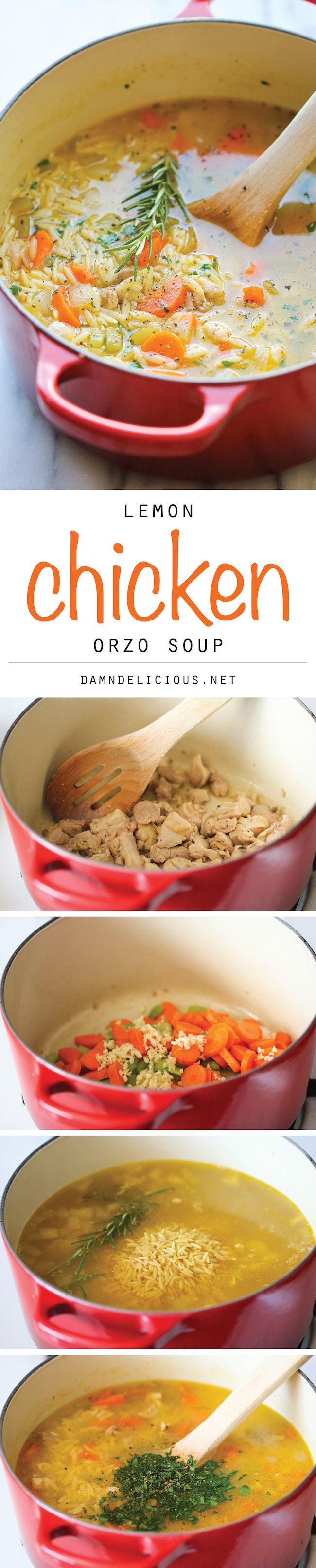 Lemon Chicken Orzo Soup - Chockfull of hearty veggies and tender chicken in a refreshing lemony broth - it's pure comfort in a bowl!