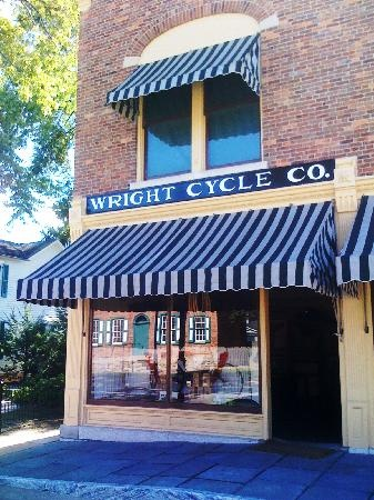 Wright Cycle Shop, where Orville and Wilbur Wright built and sold bicycles, was built about 1875 in Dayton, Ohio, and is now located at Greenfield Village in Dearborn, Michigan.