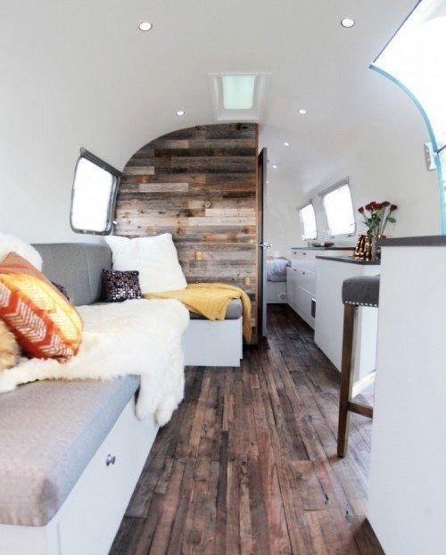 Luna Blue Moon Trailer Airstream Interior Wood Curved White door outdoor