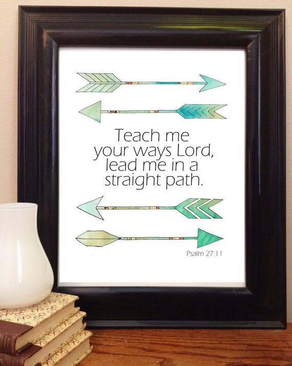Bible Verse Art Scripture Printable Psalm 27 11 Bible