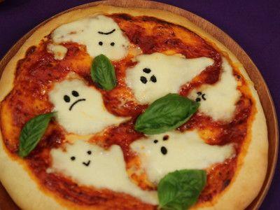 Halloween ghost margarqeita pizza