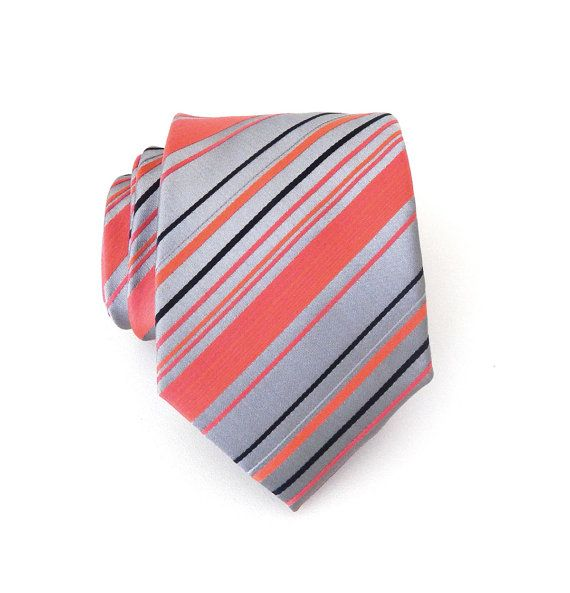 Mens Tie Coral Gray Navy Blue Stripes Necktie With