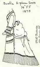 "14"" антикварная французская мода леди кукла турнюр платье/юбка и жакет с баской рисунок"