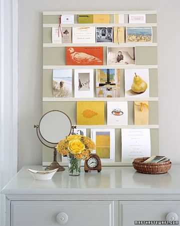 DIY Tack Free Message Board by marthastewart: Made with plywood and molding