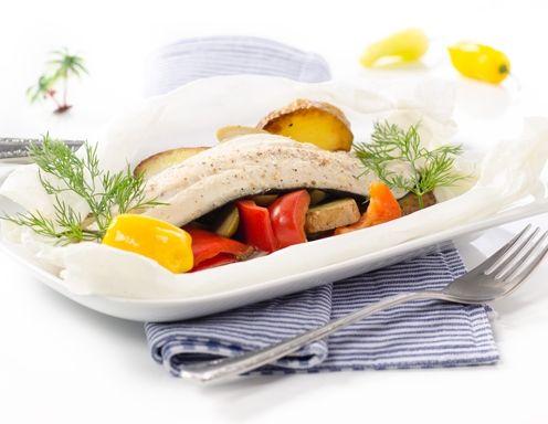 Regenbogenforelle mit Oliven und Erdäpfelscheiben Rezept