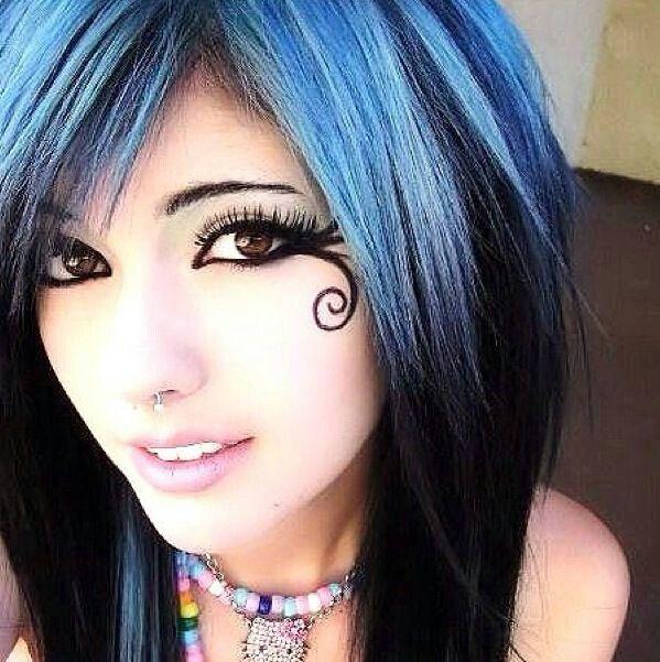 Leda Monster Bunny; Septum piercing; butterfly makeup beautiful makeup; brown eyes; kandi; blue and black scene hair.