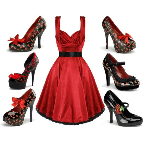 """""""Cherries and red dress"""" by jessica-brown-i on Polyvore"""