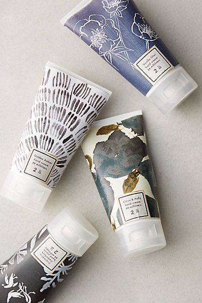 Winter Blooms Hand Cream at anthropologie -- (vanilla chai, citrus & holly , cranberry cedarbark, golden amber) -- $12.00 ea