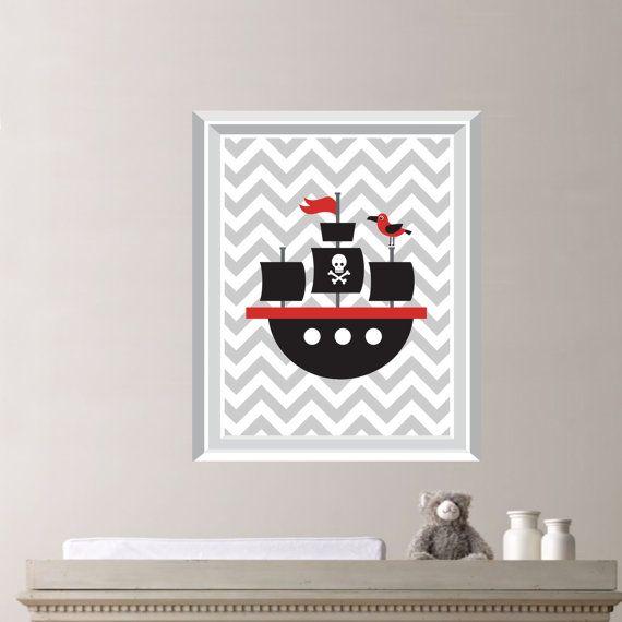 Pirate Ship Single Print  Nursery Boy Room by RhondavousDesigns2, $10.00