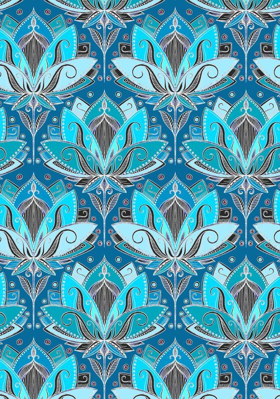 Art Deco Lotus Rising - black, teal & turquoise pattern - by Micklyn (society6)