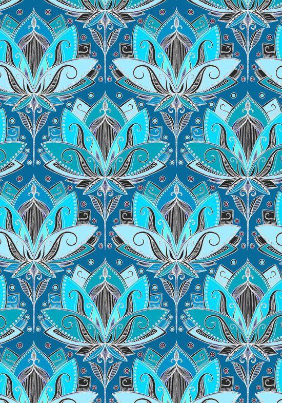 Art Deco Lotus Rising - black, teal & turquoise pattern Art Print