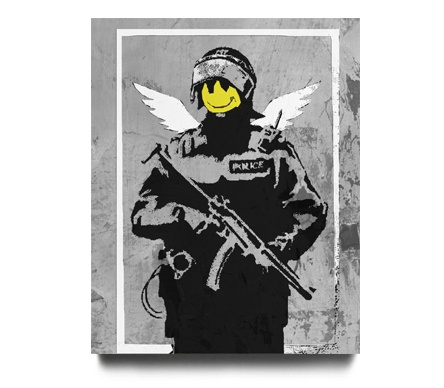 Banksy: A smiley face on a soldier's body, with little tiny angel wings.