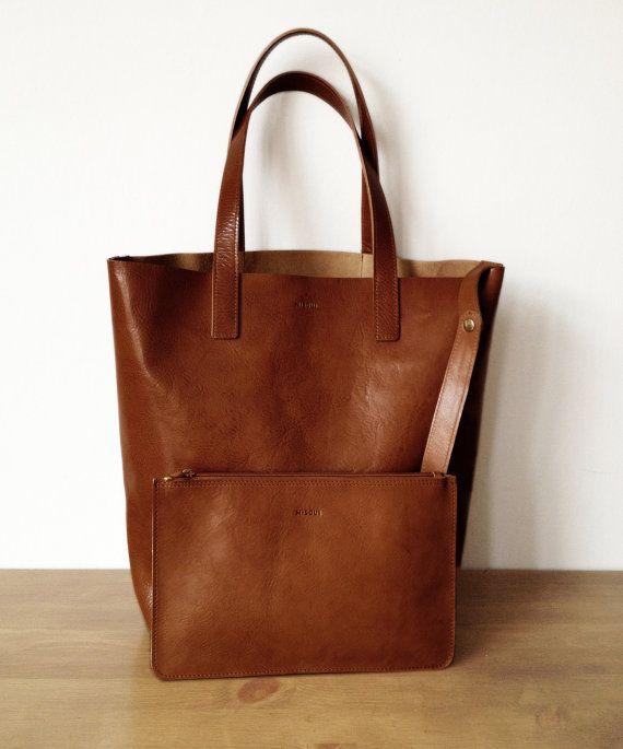 Chestnut Medium Brown Clutch Leather purse by MISOUI on Etsy