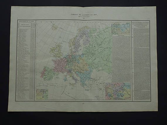 EUROPE map LARGE original antique history map of European