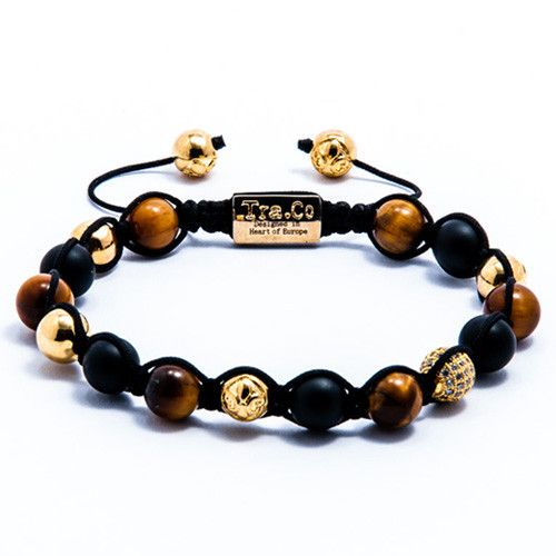 Tiger Eye & Matte Black Obsidian & White Zircon ball & & 18K Gold plating