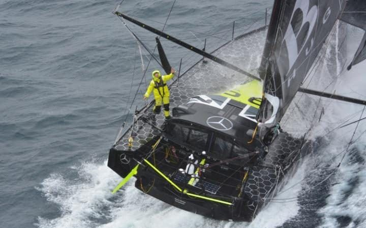 An aerial view of the Imoca monohullHugoBoss, skippered by Alex Thomson,off the Kerguelen Islands during the Vendee Globe solo round-the-world yacht race