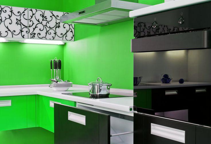 Bold green and black modern kitchen.