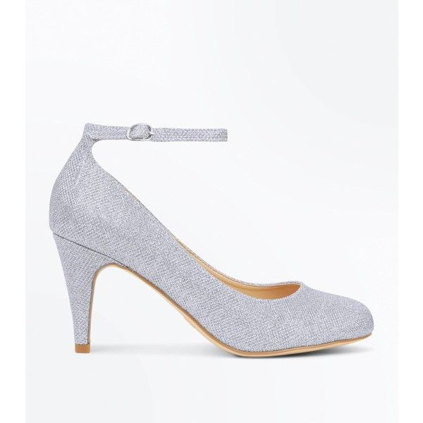 Silver Glitter Round Toe Court Shoes