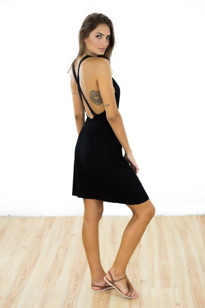 "Dress Braseo Black This sexy dress is made of soft black modal jersey. The ""Braseo"" dress has an open back and lace straps that cross over adding an elegant touch. The skirt is gathered with an elastic band and falls loosely around the hips. An effortless summer dress that can be worn from day to night. http://shoko-shop.com/collections/new-in/products/dress-braseo-black"