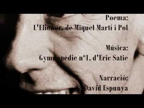 """Poema visual d'un dels poemes més personals de l'autor Miquel Martí i Pol com és """"L'elionor"""".  Aquest poema ha esdevingut una metàfora de la societat d'aquell moment, prenent com a protagonista la seua pròpia mare, una dona treballadora. Així doncs, és amb aquest poema que Miquel Martí i Pol fa una crítica social del moment, intenta captar i reflexionar sobre la situació de la dona, nens i nenes a les fàbriques de Catalunya."""