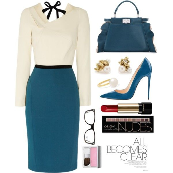 Office Outfit by piedraandjesus on Polyvore featuring Roland Mouret, Fendi, Ruth Tomlinson, Sophie Bille Brahe, Ray-Ban, Charlotte Russe, Lancôme and Clinique