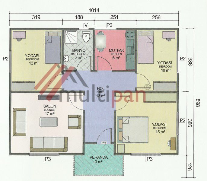 MP6 81 Square Meters Separate Lounge / Kitchen 3 Bedrooms 1 Bathroom