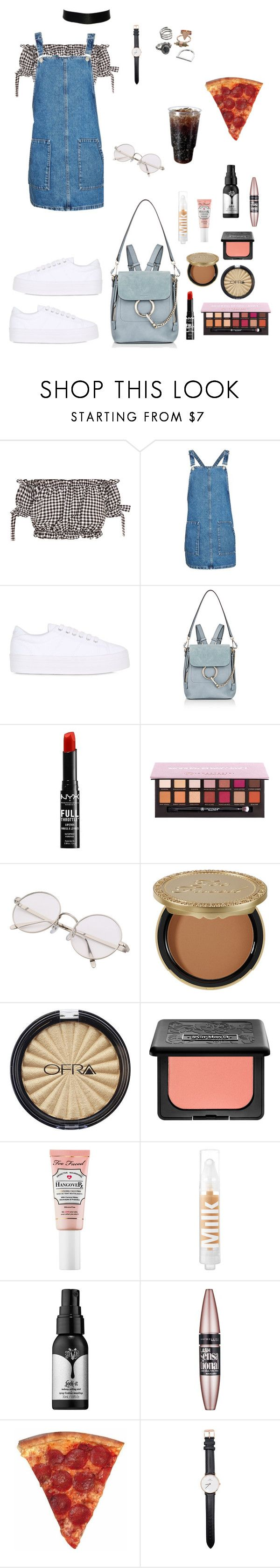 """We ride with pizza"" by shellygeigel ❤ liked on Polyvore featuring Topshop, No Name, Chloé, NYX, Anastasia Beverly Hills, Too Faced Cosmetics, ULTA, Kat Von D, Maybelline and Daniel Wellington"
