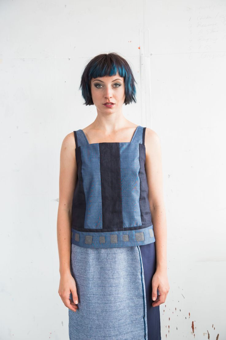 Top  Short length top in combination of navy linen and blue cotton chambray. Conceal zip closure at left side. Square details around hem. Cotton 60% Linen 40%