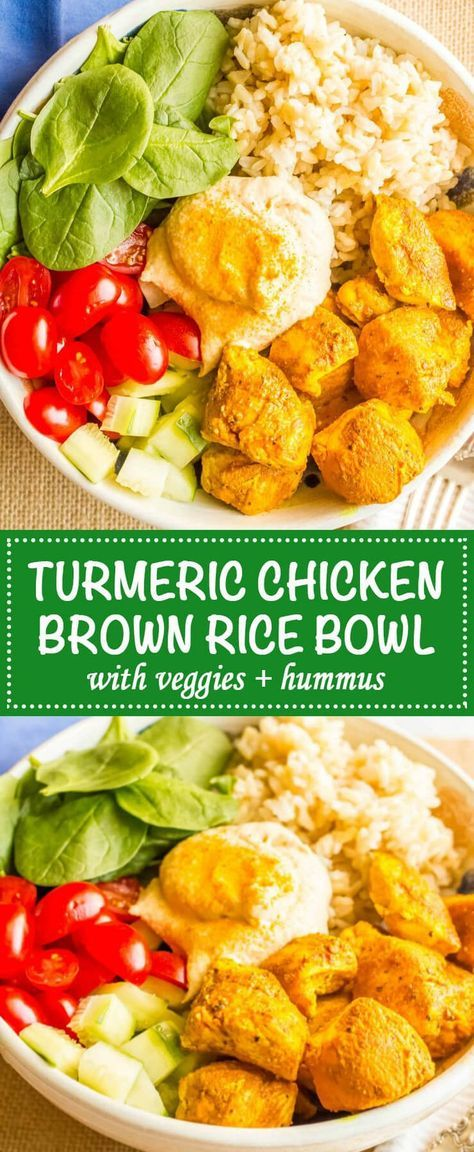 Turmeric chicken bowls with basmati rice, veggies and hummus are an easy, healthy and flavorful dinner recipe - enjoy as a make-ahead lunch!