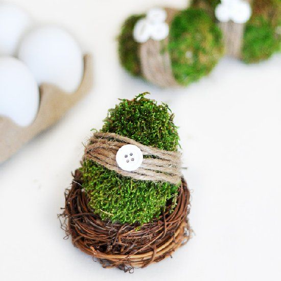 These pretty, green moss-covered eggs are the perfect way to welcome spring into your home!