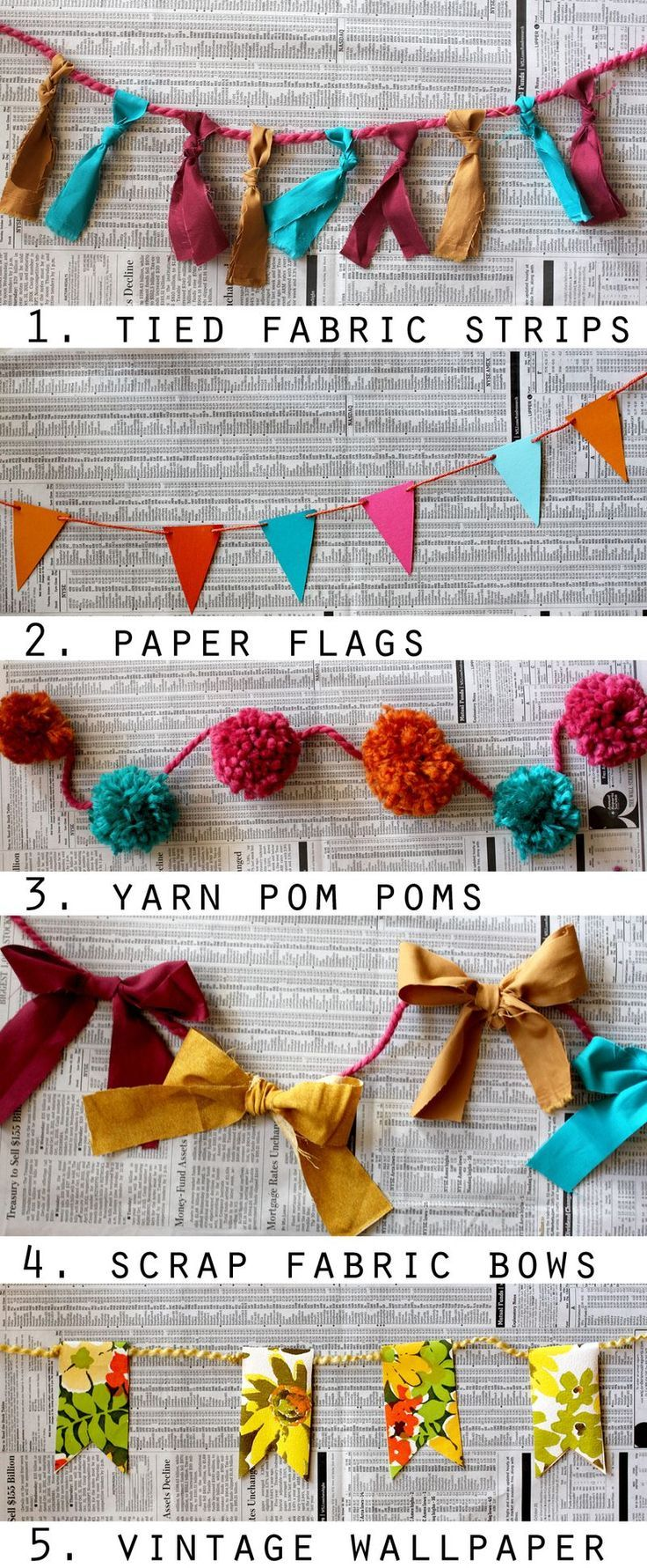 Many ways to make a garland! (I'm really pinning this to use for Bowie's birthday decorations but I don't have a board for that)
