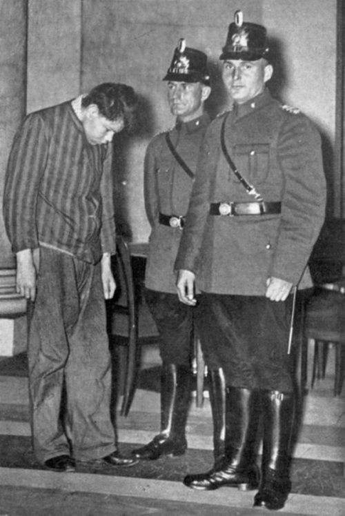 Accused of setting fire to the Reichstag, Marinus van der Lubbe awaits his trial. Germany, Leipzig, 1933