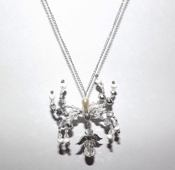 Ice White Angel Spider Necklace   Free UK P&P  by KasumiCrafts