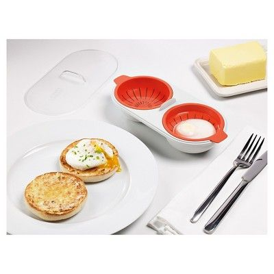 Joseph Joseph M-Cuisine Microwave Egg Poacher – Orange/Stone, Grey/Orange