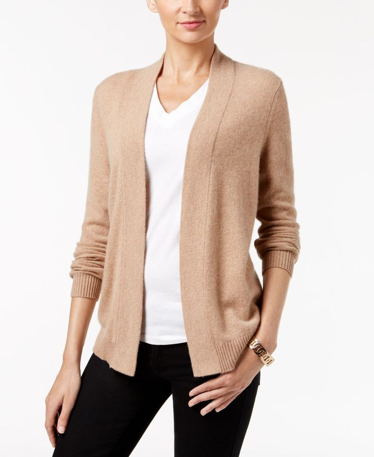 Infuse instant luxury to your look with Charter Club's elegant cashmere cardigan. | Cashmere | Dry clean | Imported | Open neckline and front; no closures | Long sleeves | Relaxed fit | Hits at hip |
