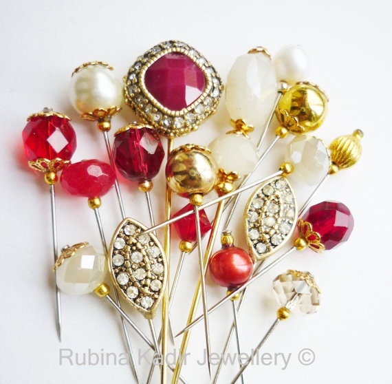 18 Bridal Red & Gold Pin Collection  Hijab Pin / by RubinaKadir, £18.50