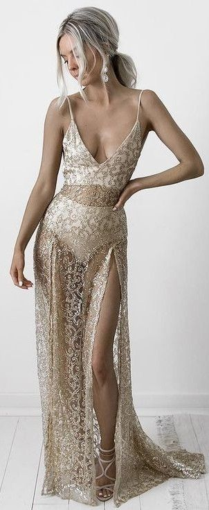 See Through Gold Lace Gown                                                                             Source
