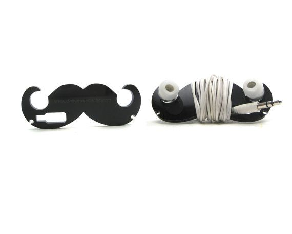 Dandy - Moustache Headphone Wrap for Earbuds (BLACK) - stocking stuffers