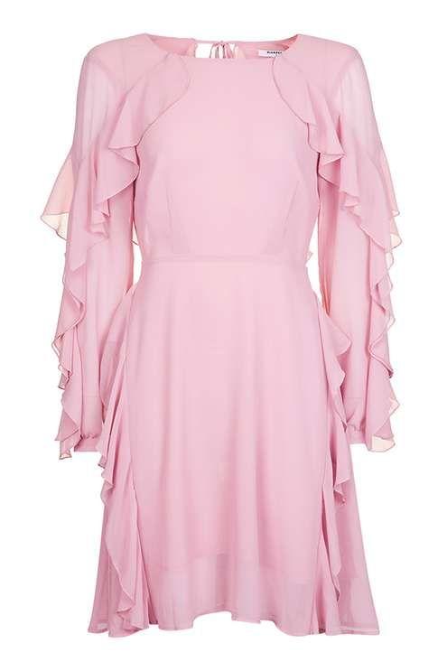 **Light Pink Frilled Skater Dress by Glamorous