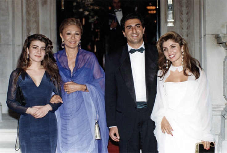 (2-L) Former empress of Iran Farah Diba Pahlavi with her children: (L-R) Princess Leila, Prince ...