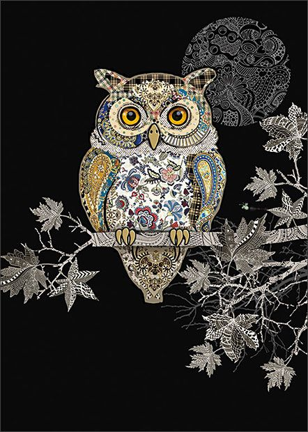 Decorative Owl - designed by Jane Crowther for Bug Art greeting cards. Embossed with gold and silver foil.
