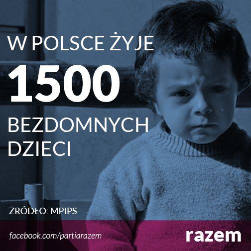 >>W polsce żyje 1500 bezdomnych dzieci<< Brak polityki mieszkaniowej ma swoje konsekwencje. Rodziny z dziećmi (łącznie ponad półtora tysiąca dzieci!), zamiast w lokalach gminnych, lądują często w noclegowniach dla bezdomnych. Każdy człowiek ma prawo do dachu nad głową. Dlatego wprowadzimy finansowany z budżetu centralnego program budowy mieszkań komunalnych. Bezdomność dzieci to hańba dla Polski. http://www.razemdamyrade.com