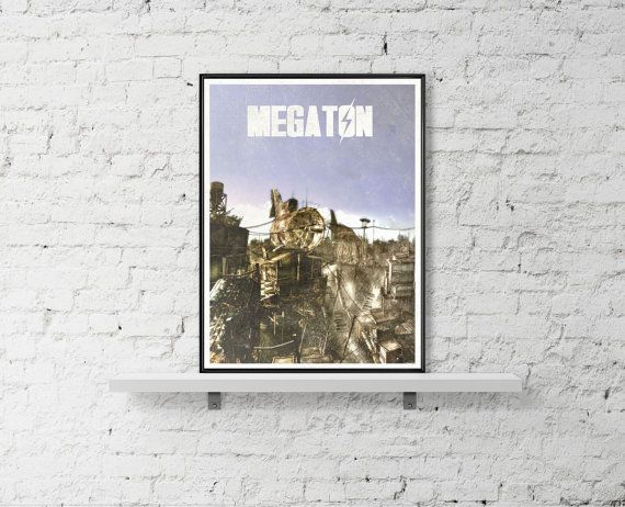 Fallout Inspired Art Poster Size A3 Megaton Game by BaydleCreative