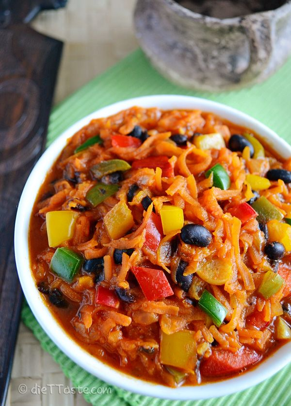 Chakalaka - spicy South African vegetable side-dish; great with grilled food - diettaste.com