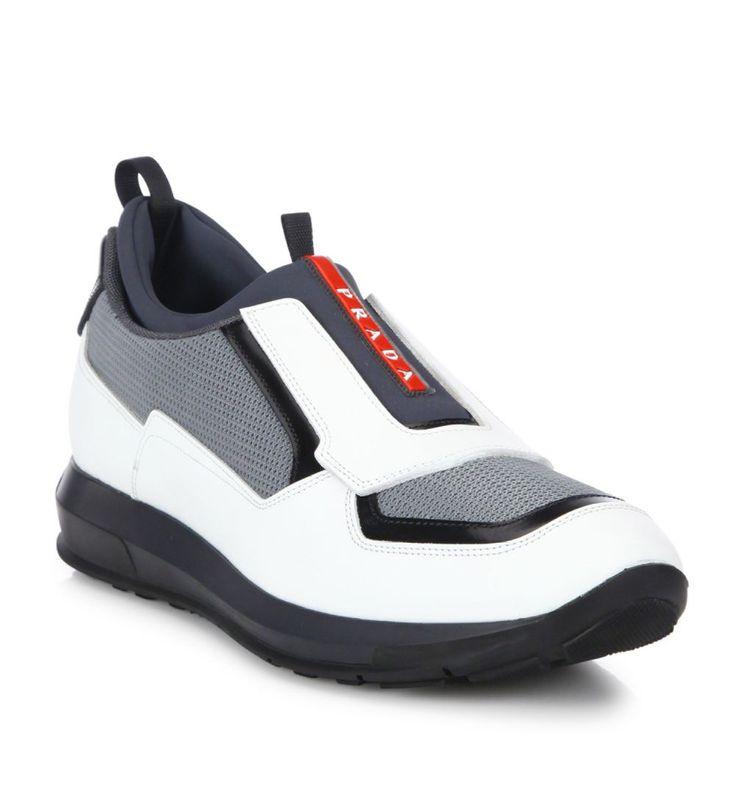 Prada Punta Ala Leather Slip-On Sneakers White                 $119.00